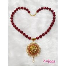 Semi Precious Beads Necklace with American Diamond Locket