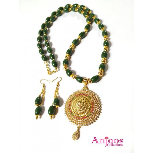 Dark Green Beads Necklace with Ad Stone Pendant and Earrings